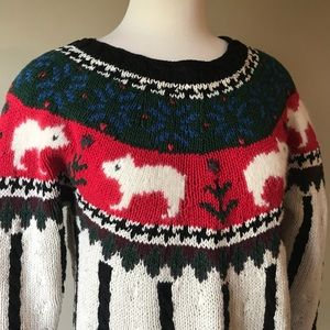 Vintage Sweaters - Vintage 80s 90s Cozy Winter Bear Sweater